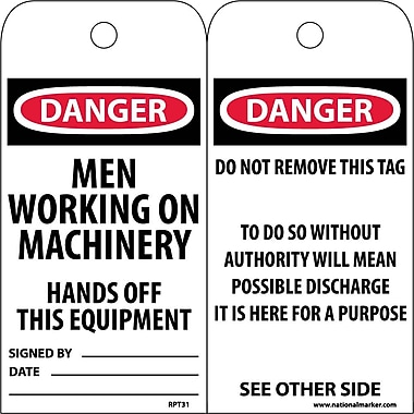 Accident Prevention Tags, Danger Men Working On Machinery..., 6