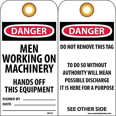 Accident Prevention Tags, Danger Men Working On Machinery. . ., 6X3, Unrip Vinyl, 25/Pk W/ Grommet