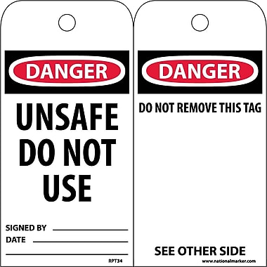 Accident Prevention Tags, Danger Unsafe Do Not Use, 6