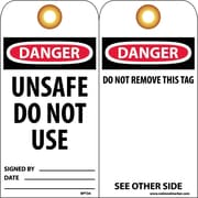 Accident Prevention Tags, Dnager Unsafe Do Not Use, 6X3, Unrip Vinyl, 25/Pk W/ Grommet