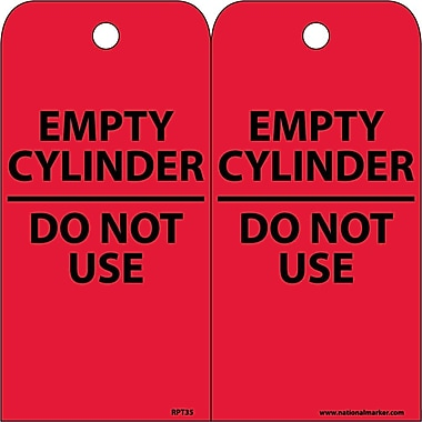 Accident Prevention Tags, Empty Cylinder Do Not Use, 6