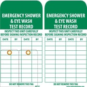 Accident Prevention Tags, Emergency Shower And Eye Wash Test Record, 6X3, Unrip Vinyl