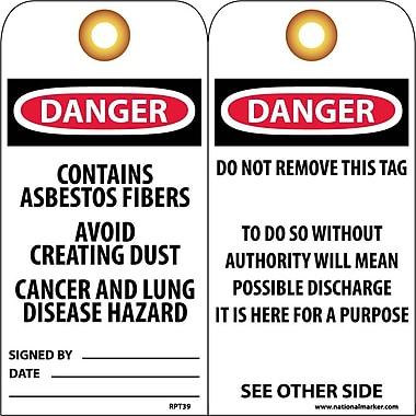 Accident Prevention Tags, Danger Contains Asbestos Fiber. . ., 6X3, Unrip Vinyl, 25/Pk W/ Grommet