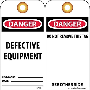 Accident Prevention Tags, Danger Defective Equipment, 6