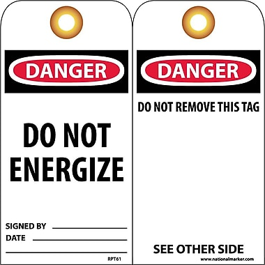 Accident Prevention Tags, Danger Do Not Energize, 6