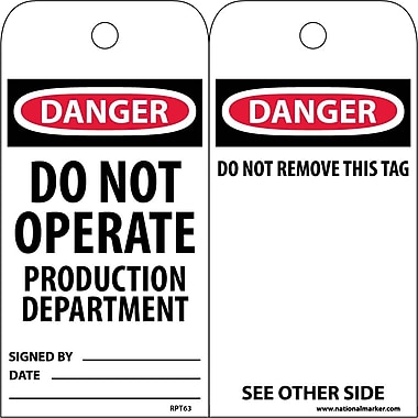 Accident Prevention Tags, Danger Do Not Operate Production Dept., 6X3, Unrip Vinyl, 25/Pk