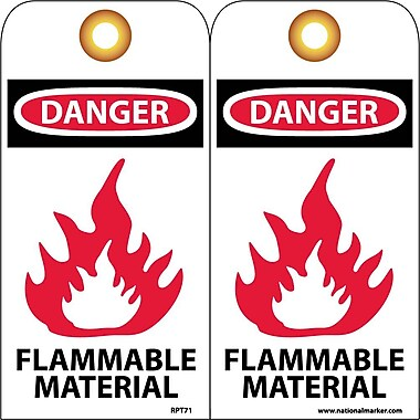 Accident Prevention Tags, Danger Flammable Material, 6