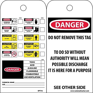 Accident Prevention Tags, Chemical Id, 6X3, Unrip Vinyl, 25/Pk