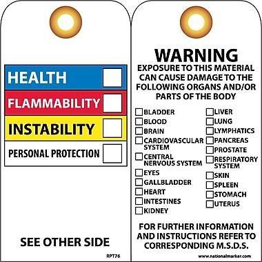 Accident Prevention Tags, Hazardous Materials Color Bar, 6X3, Unrip Vinyl, 25/Pk W/ Grommet