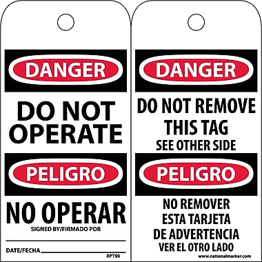 Accident Prevention Tags, Danger Do Not Operate (Bilingual), 6X3, Unrip Vinyl, 25/Pk