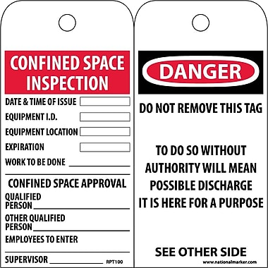 Accident Prevention Tags, Confined Space Entry Permit, 6X3, Unrip Vinyl, 25/Pk