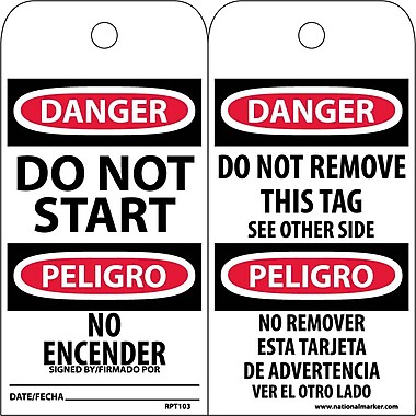 Accident Prevention Tags, Do Not Start (Bilingual), 6X3, Unrip Vinyl, 25/Pk