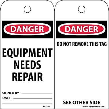 Accident Prevention Tags, Equipment Needs Repair, 6
