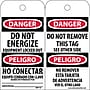 Accident Prevention Tags, Danger Do Not Energize (Bilingual),