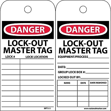 Accident Prevention Tags, Danger Lockout Master Tag, 6