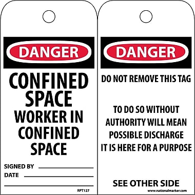 Accident Prevention Tags, Confined Space Worker In Confined Space, 6X3, .015 Mil Unrip Vinyl, 25 Pk