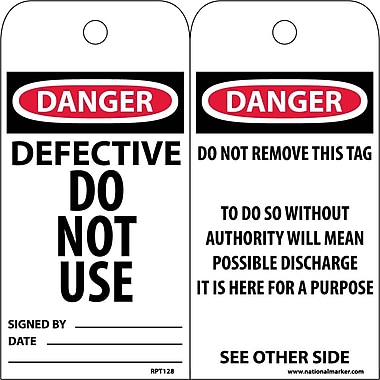 Accident Prevention Tags, Defective Do Not Use, 6X3, .015 Mil Unrip Vinyl, 25 Pk