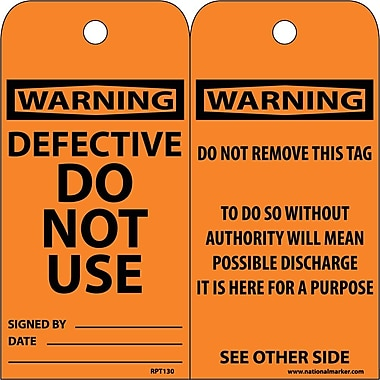 Accident Prevention Tags Defective Do Not Use 6X3 .015 Mil Unrip Vinyl 25 Pk