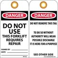 Accident Prevention Tags, Do Not Use This Forklift Requires Repair
