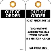 Accident Prevention Tags, Out Of Order, Blank, 6X3, .015 Mil Unrip Vinyl, 25 Pk W/ Grommet