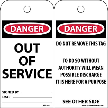 Accident Prevention Tags, Out Of Service, 6