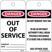 Accident Prevention Tags, Out Of Service, 6X3, .015 Mil Unrip Vinyl, 25 Pk