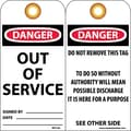 Accident Prevention Tags, Out Of Service, 6X3, .015 Mil Unrip Vinyl, 25 Pk W/ Grommet
