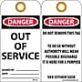 Accident Prevention Tags, Out Of Service, 6X3, .015