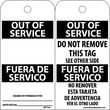 Accident Prevention Tags, Out Of Service Bilingual, 6X3, .015 Mil Unrip Vinyl, 25 Pk
