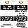 Accident Prevention Tags, Out Of Service Bilingual, 6X3,