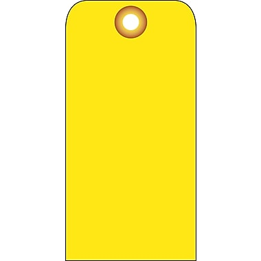 Accident Prevention Tags, Yellow Blank, 6X3, .015 Mil Unrip Vinyl, 25 Pk W/ Grommet