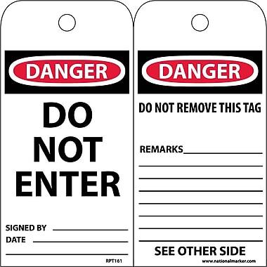 Accident Prevention Tags, Do Not Enter, 6X3 Unrip Vinyl, 25/Pk