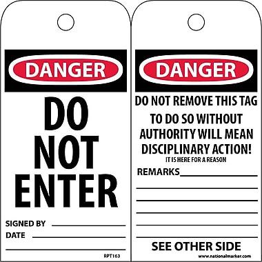 Accident Prevention Tags, Danger, Do Not Enter, 6X3, Unrip Vinyl, 25/Pk
