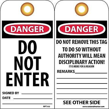 Accident Prevention Tags, Danger, Do Not Enter, 6