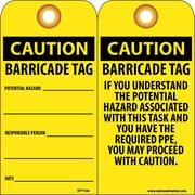 Accident Prevention Tags, Caution Barricade Tag, 6X3, Unrip Vinyl, 25/Pk W/ Grommet
