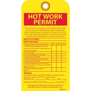 Accident Prevention Tags, Hot Work Permit, 7.5X4, Unrip Vinyl, 10/Pk W/ Grommet