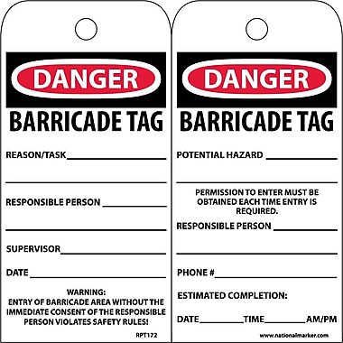 Accident Prevention Tags, Danger Barricade Tag, 6