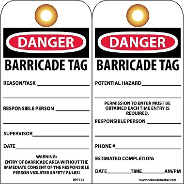 Accident Prevention Tags, Danger Barricade Tag, 6X3, Unrip Vinyl, 25/Pk W/ Grommet