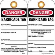 Accident Prevention Tags, Danger Barricade Tag, 6X3, Unrip Vinyl, 25/Pk W/ Grommet