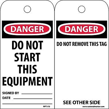 Accident Prevention Tags, Danger, Do Not Start This Equipment, 6