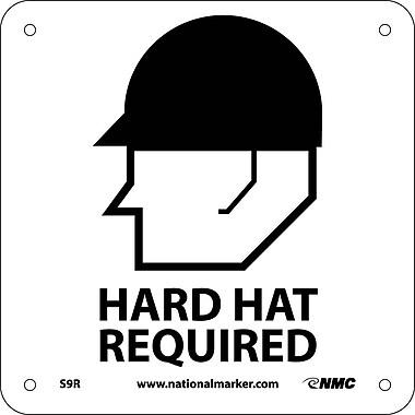 Hard Hat Required (W/ Graphic), 7X7, Rigid Plastic