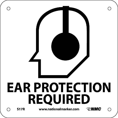 Ear Protection Required (W/ Graphic), 7X7, Rigid Plastic