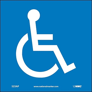 Handicapped Symbol, 4X4, Adhesive Vinyl, Labels sold in 5/Pk