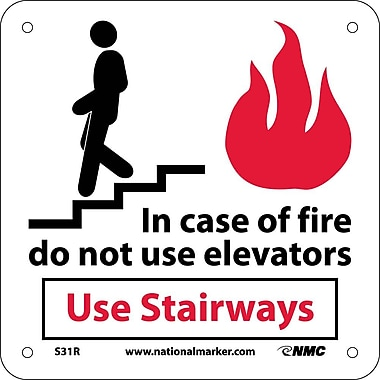 In Case Of Fire Do Not Use Elevators Use.. (W/ Graphic), 7X7, Rigid Plastic