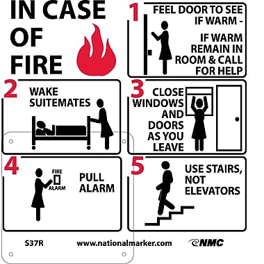 Hotel Motel Fire Emergency Instructions (W/ Graphic), 7X7, Rigid Plastic