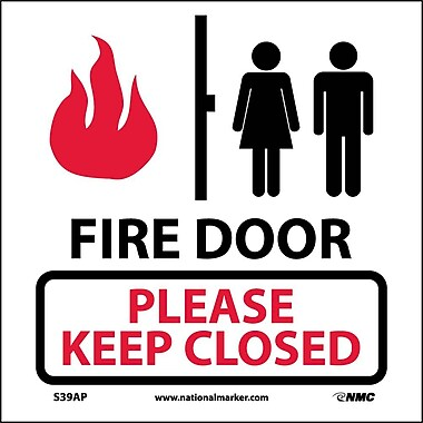Fire Door Please Keep Closed (Graphic), 4X4, Adhesive Vinyl, Labels sold in 5/Pk