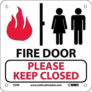 Fire Door Please Keep Closed (W/ Graphic), 7X7, Rigid Plastic