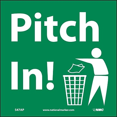Pitch In (Graphic), 4X4, Adhesive Vinyl, Labels sold in 5/Pk