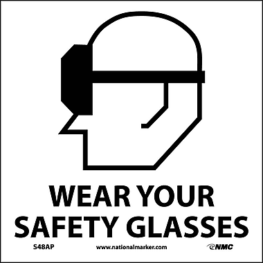 Wear Your Safety Glasses (Graphic), 4X4, Adhesive Vinyl, Labels sold in 5/Pk
