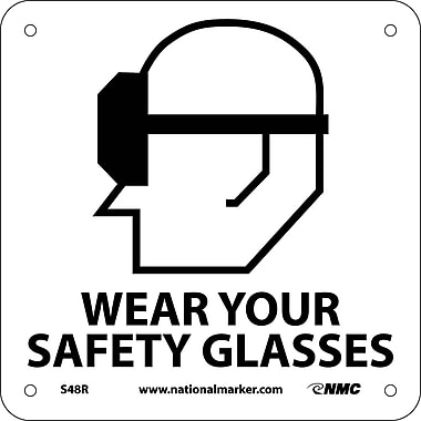 Wear Your Safety Glasses (W/ Graphic), 7X7, Rigid Plastic